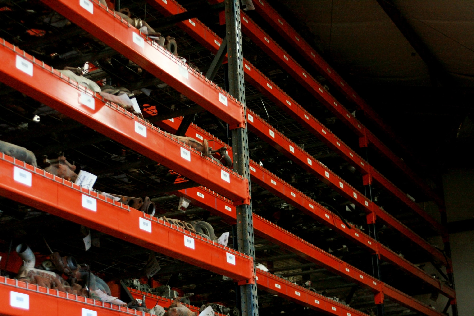 Shelfs of used auto parts